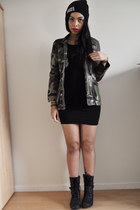 army green Pull and Bear jacket - black Pimkie boots - black H&M dress