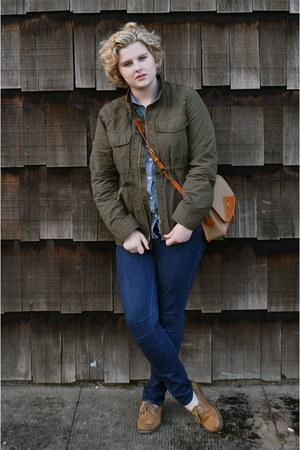 shoes - navy Levis jeans - army green J Crew jacket - blue Merona