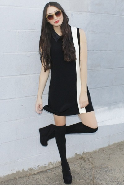 black Alyssa Nicole dress - black knee high socks asos socks