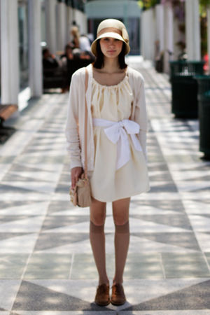 beige bag - beige sash belt Bird by Alyssa Nicole dress - beige hat