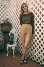 Camel-khaki-alyssa-nicole-shorts-brown-mary-anne-alyssa-nicole-blouse