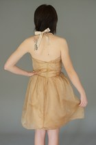 Gold Organza Pleated Alyssa Nicole Dresses