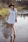 White-alyssa-nicole-dress-dark-brown-thrifted-hat-light-brown-flatforms-urba