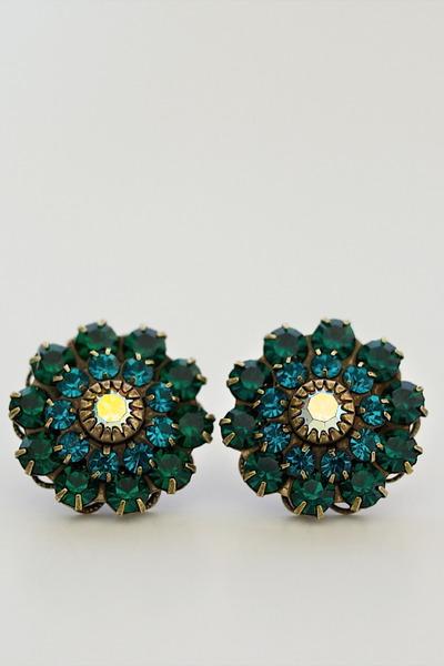 teal blue flower gem Alyssa Nicole earrings