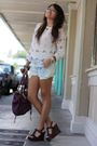 White-croquet-club-blouse-blue-levis-shorts-blue-forever-21-accessories-si