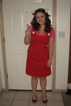 red Mossimo dress - pink Express t-shirt - red Old Navy shoes - white handmade a