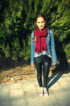 leather Tally Weijl pants - denim H&M jacket - brick red scarf