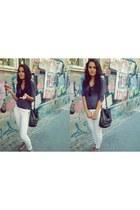white elastan Ambika leggings - black plastic H&M sunglasses