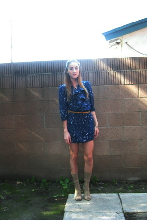 blue Silence  Noise dress - gold H&amp;M belt - beige My Dads sock drawer socks - be