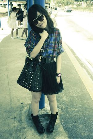 blue Topshop shirt - black Forever 21 skirt - black elitrend belt - black Local