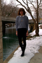 black vintage boots - vintage dress - heather gray American Apparel sweatshirt