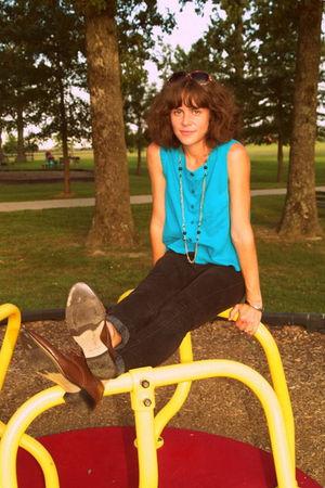 vintage blouse - Topshop jeans - vintage shoes