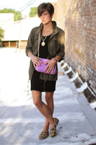 army green jacket - black vintage dress - light purple bag