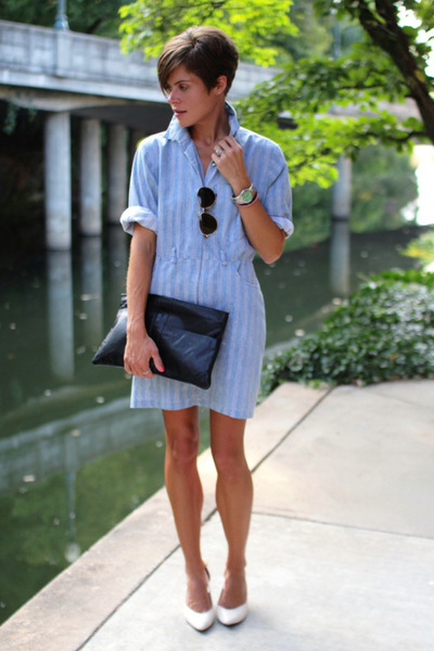 light blue dress - black bag - white heels