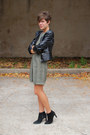 Black-boots-olive-green-vintage-dress-black-faux-leather-h-m-jacket