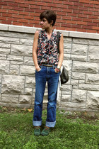 navy vintage blouse - green brogues shoes - vintage jordache jeans