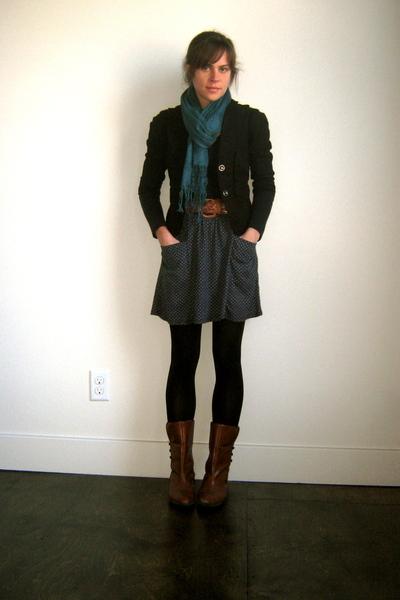 vintage belt - Lux blazer - Forever 21 shirt - UO skirt - UO scarf - vintage boo