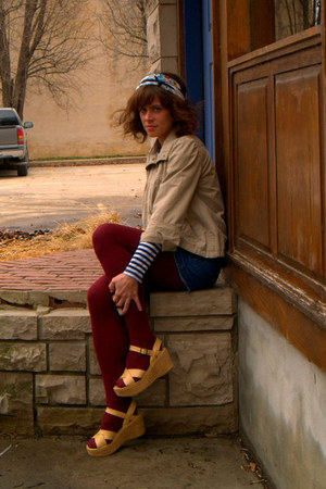 tan jacket - Rodarte for Target shirt - crimson calvin klein tights - blue talbo