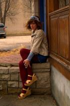 tan jacket - Rodarte for Target shirt - crimson calvin klein tights - blue talbo