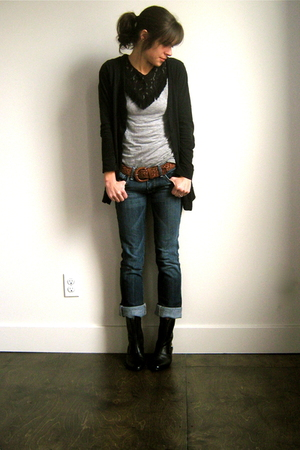 Target cardigan - Seven For All Mankind jeans - vintage boots - Anna Sui for Tar