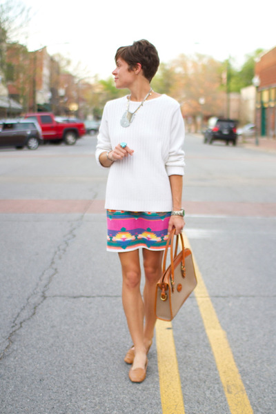 vintage skirt - white sweater - Dooney &amp; Bourke bag - camel flats