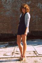 Vintage romper shorts - Target cardigan - Cynthia Vincent for Target shoes