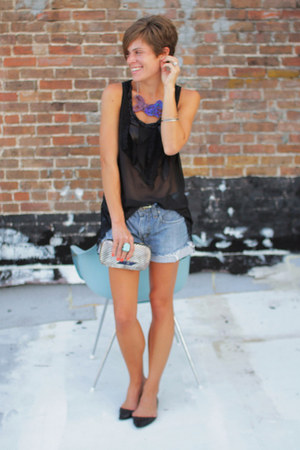 black blouse - silver Vintage Gucci bag - Levis shorts - black flats