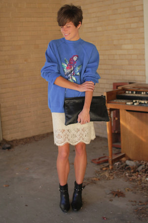 blue vintage sweatshirt - black boots - black bag - cream lace vintage skirt