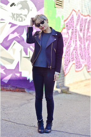 black Zara jacket - black Topshop boots - black Cheap Monday jeans