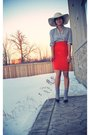 Gray-forever-21-shirt-orange-smartset-skirt-gray-socks-beige-smartset-hat