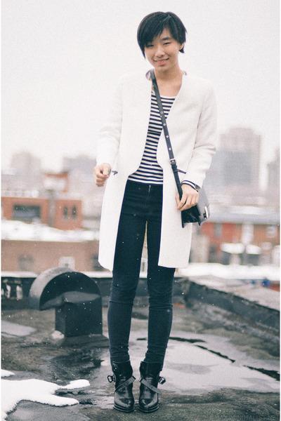 white Zara coat - black Zara boots