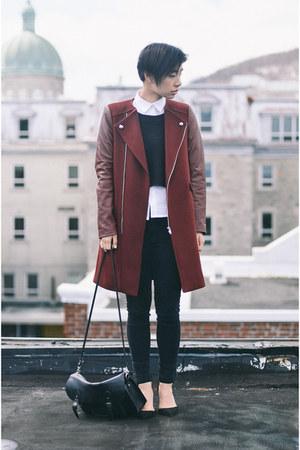 maroon Zara coat