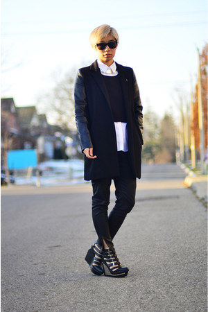 black Taobao coat - black Zara jeans - black Jeffrey Campbell wedges