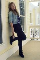 suede Target boots - jeggings Target jeans - old denim Old Navy jacket - polka d