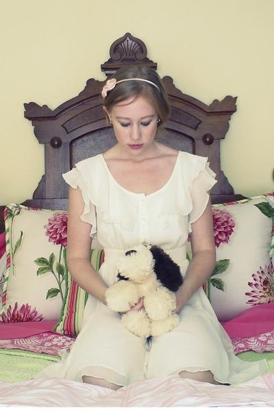 cream Target dress - light pink floral headband Old Navy accessories