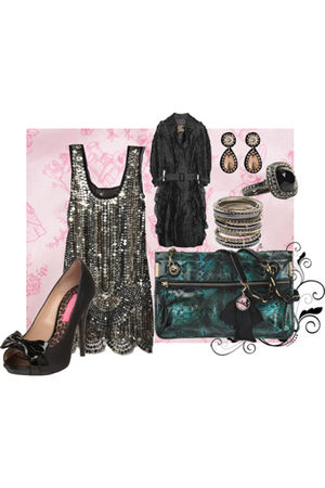 gold Anna Sui dress - black Burberry Prorsum coat - black Betsey Johnson shoes -