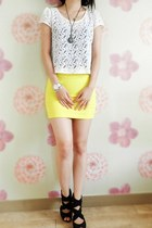 yellow skirt - off white foreign exchange top - black strappy heels
