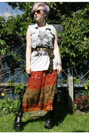 burnt orange thirfted skirt - black Demonia boots - white Camden t-shirt