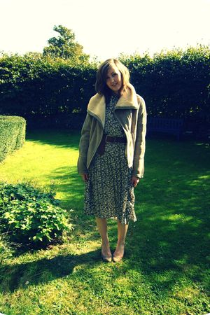 beige ASOS WHITE coat - gray vintage dress - brown vintage belt - beige staccato