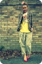 brown leopard print River Island blazer - light pink vintage scarf - nude peg Ga