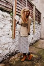 Dark-khaki-vintage-dress-tawny-elite-boots-tawny-hobbs-jacket