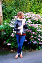 blue Gap jeans - beige thrifted shoes - white Primark scarf - gray Gap blouse -