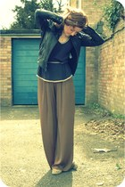 black leather Topshop jacket - dark khaki palazzo Topshop pants - camel staccato