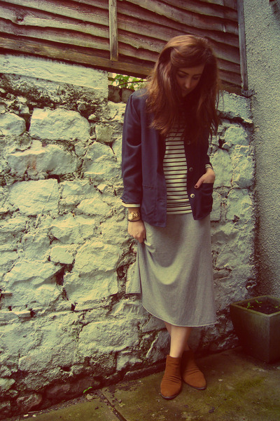 navy vintage jacket - bronze Jane Norman boots - heather gray midi Gap dress
