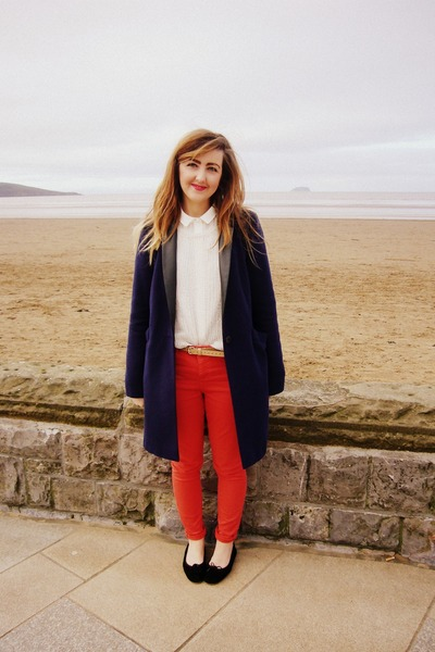 red skinny jeans whistles jeans - navy leather lapels Topshop coat