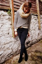 eggshell stripe Gap jumper - black French Connection boots