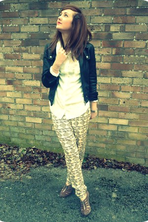 black leather Topshop jacket - tan asos heels - light yellow printed harem H&M p