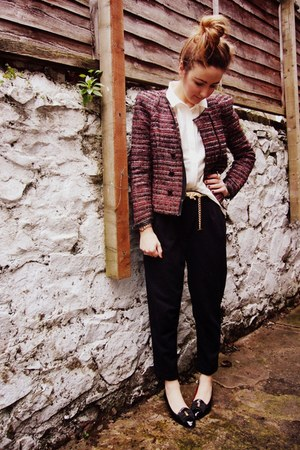 ruby red tweed Zara jacket - navy Peg trousers pants