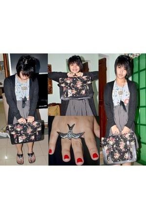 satchel like Folded and Hung bag - heather gray floral print Primadonna dress