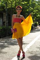 yellow Chicwish sunglasses - bronze romwe necklace - yellow thrifted skirt